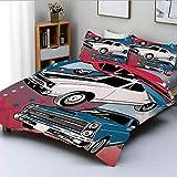 Juego de fundas nórdicas, Pop Art Stylized Group of Nostalgic American Muscle Cars con estrellas con estampado antiguo Juego de cama decorativo de 3 piezas con 2 fundas de almohada, rojo beige azul, e