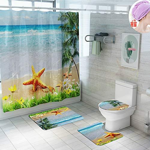 Enhome Badteppich Set 4teilig, Strand Druck Badvorleger Duschvorleger Bad Fußmatten Badezimmermatten Set mit Duschvorhang, rutschfeste U-Sockelteppich, Toilettenabdeung & Badematte (Strand)