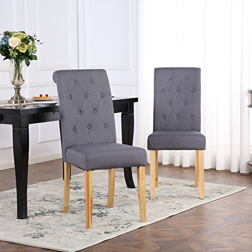 The Home Garden Store Set of 2 Kensington Fabric Dining Chairs Scroll High Back (Dark Grey)