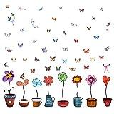 Pegatinas Pared Decorativos Infantiles Niños Vinilos Ventanas Cristal Macetas Flores Mariposas Stickers Adhesivos Habitación Dormitorio Salón