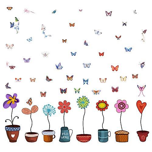 Wandbilder Wandtattoo niedliche bunte Blumentopf Schmetterlinge Fensterdeko Bilder Kinder Aufkleber selbstklebend Fenstersticker Blumen Wandtattoo Kinderzimmer Deko