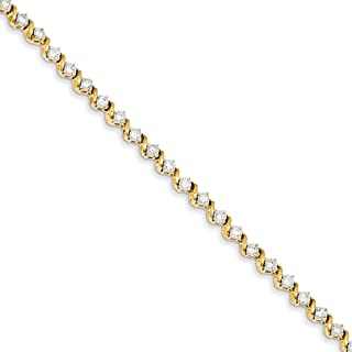 14k Yellow Gold Diamond Bracelet 7 Inch Fine Mothers Day Jewelry For Women Gifts For Her