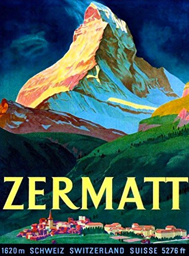 A SLICE IN TIME Zermatt Switzerland Swiss Matterhorn Schweiz Suisse Europe Vintage Travel Advertisement Art Collectible Wall Decor Poster Print. 10 x 13.5 inches