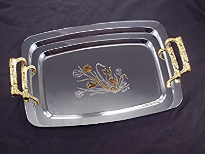 Denizli Serveware JS Silver Art Collection Double Stainless Steel Serving Tray Platter, 24K Gold-plated Handles