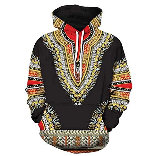 Magiyard T-Shirt Lovers Automne Hiver Africain Imprimé 3D Manches Longues Dashiki Sweats À Capuche Haut