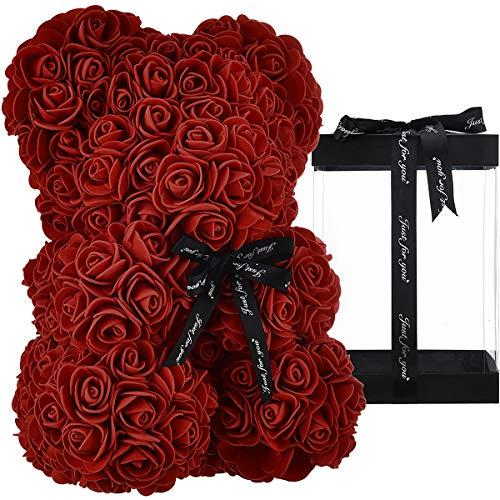 ZHKXBG Oso de Flor Rosa, Regalo para el día de la Madre, día de San Valentín, Aniversario y duchas Nupciales, Caja de Regalo Transparente incluida,B