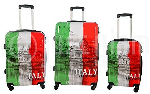 Trolley valigia set valigie rigide set bagagli in policarbonato abs super leggeri 4 ruote piroettanti trolley piccolo adatta per cabina con compagnie lowcost art tricolore / unico