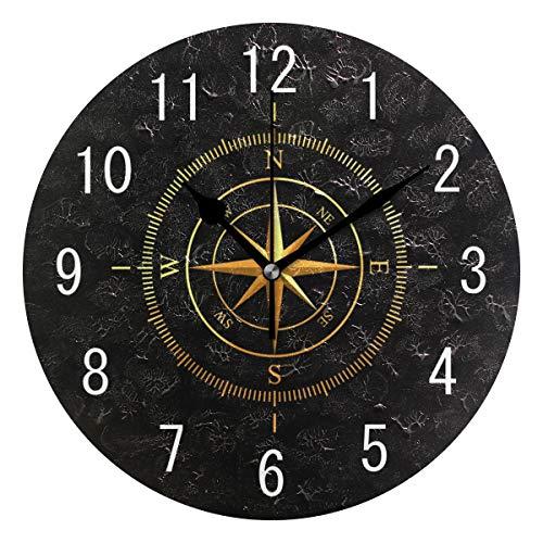 Use7 Wanduhr mit goldenem Kompass, Acryl, rund, Nicht tickend, geräuschlos, für Wohnzimmer, Küche, Schlafzimmer