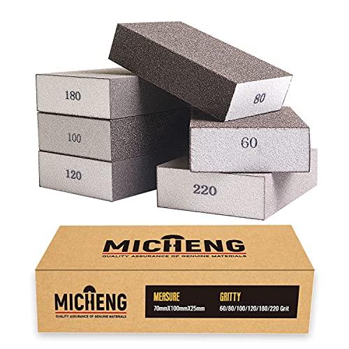 Sanding Sponges, 6PCs Sanding Blocks Assortment, Reusable Sandpaper Blocks in 60/80/100/120/180/220 Grit, Coarse and Fine Sanding Pads for Woodwork Crafts Drywall Repair Glass Metal