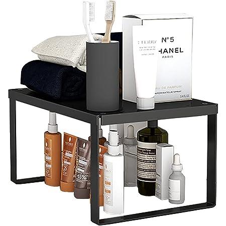 YunNasi Support de rangement empilable en acier inoxydable pour cuisine, salle de bain, maquillage, organiseur de placard (1 pièce, taille M : 30 x 20 x 15 cm)