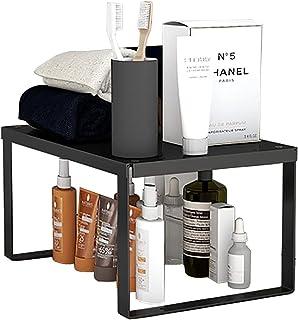 YunNasi Support de rangement empilable en acier inoxydable pour cuisine, salle de bain, maquillage, organiseur de placard...