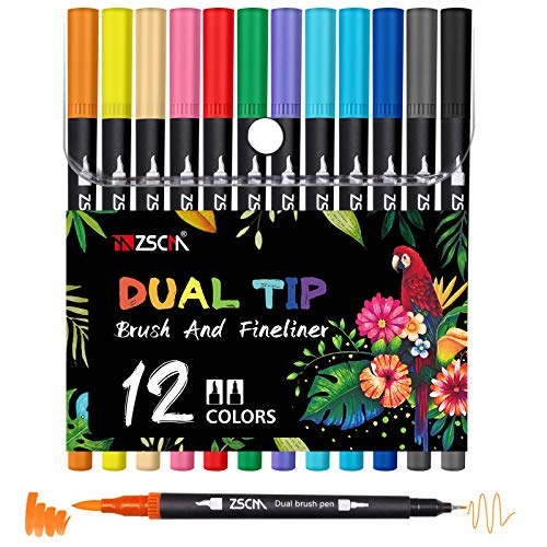 Dual Brush Colored Pens Coloring Markers, ZSCM 12 Colors Fine&Brush Tip Art Markers for Kids Adult Coloring Books Drawing Bullet Journaling Planner Calligraphy Calendar Art Projects School Supplies