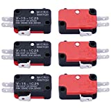 Twidec / 6Pcs Snap Action Button Micro Limit Switch 125V/250V 16A SPDT for Microwave Oven Door Arcade V-15-1C25