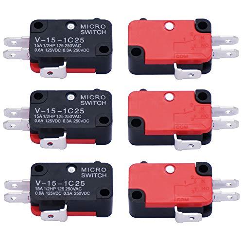 mxuteuk 6 unidades 125V/250V 16A SPDT Botón de acción de presión Micro Limit Interruptor para microondas horno puerta Arcade V-15-1C25