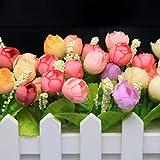 XuanMax 2pcs Roses Kunstblumen mit Zaun Kunstpflanzen mit Topf Künstliche Blumen im Pot Künstliche Pflanzen Gefälschte Topfpflanzen Bonsai Dekoartikel Ornamente 30 * 7.5 * 12cm – Farben Mischen - 3