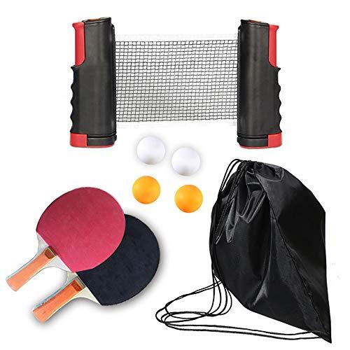 Bcamelys Red Y Raquetas Ping Pong,Conjunto de Pelotas Ping Pong Set PortáTil con 2 Raquetas+4 Pelotas+1 Bolsa+1 Red RetráCtil(Longitud hasta 175cm),para Actividades Al Aire Libre,Negro