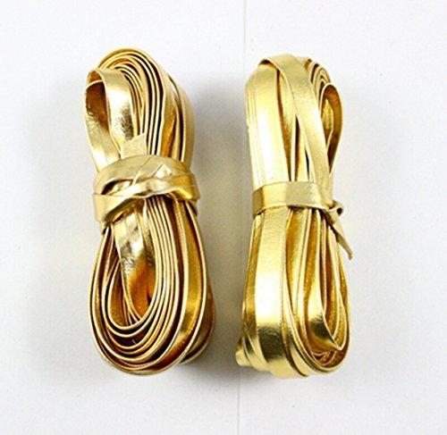CHENGYIDA 10 Meter/11 Yards Flat PU Lederen Koorden Goud Voor DIY Armband ketting Sieraden maken 5MM Breedte