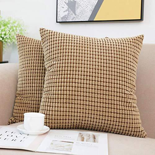 Beansfun クッションカバー 45×45cm 背当て 装飾枕 カバー 北欧 無地 撥水 ふわふわ ナチュラルで温もり 春秋冬向け 焦茶色 2SET