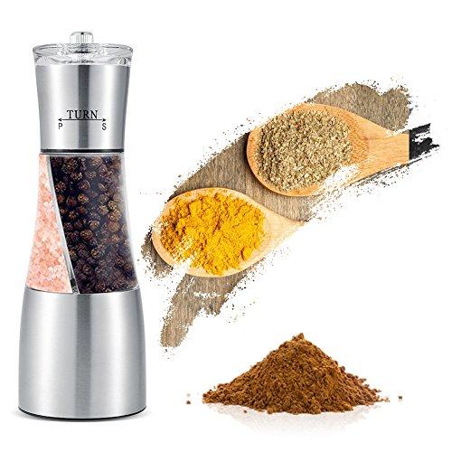 2-in-1 peper- en zoutmolen, roestvrij staal Handmatige dubbele peper- en zoutmolen Kruidenmolen Keuken kookgerei