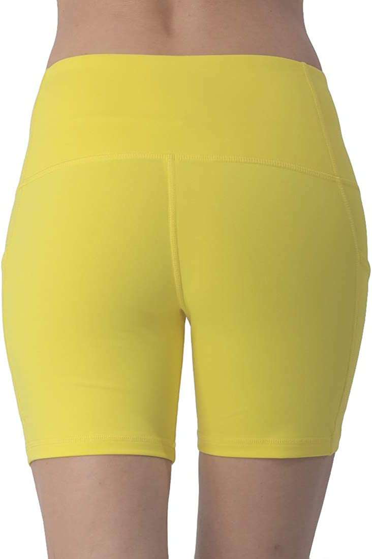 ONGASOFT Women Workout Yoga Shorts Running Tights High Waist Shorts with Side Phone Pockets