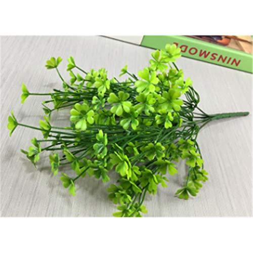 Baisheng Artificial Flowers Four-leaf Clover Silk Flower Party Festival Xmas Bouquets Home Wedding Decoration(4 Bunch-Green)