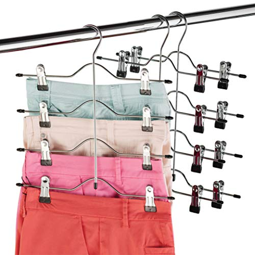 Zober Space Saving 4 Tier Skirt Hanger with Adjustable Clips (3 Pack) 4-on-1 Hanger, GAIN 50% More Space, Reliable Non Slip Grip, Durable Metal Pants...