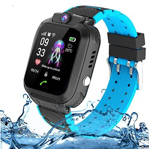 Montre LBS Enfant Tracker Étanche,Smartwatch pour Enfants étanche Téléphon Jeu Appelez la caméra à Deux Voies Écran-Fille Garçon Montre Connectée Enfant SOS 3 à 12 Ans (Blue)