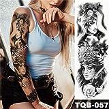 3pcsBig Brazo Manga Tatuaje japonés Ola Impermeable Tatuaje Pegatinas Lirio Pavo Real Macho Entero Tigre Zorro Tatuaje