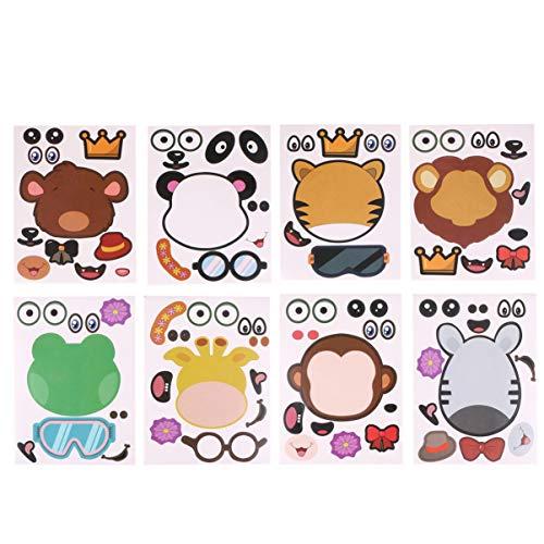 NUOBESTY 8 pegatinas de animales, diseño de dibujos animados únicos para mochila, niños y niñas, manualidades
