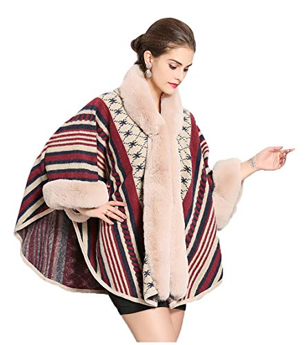 Poncho de punto para mujer con cuello de piel de mujer, diseño marroquí, acogedor, capucha extragrande, invierno, exótico, moderno, mezcla de lana, capa frontal abierta albaricoque Tallaúnica