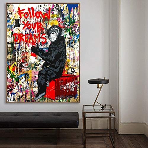 Banksy Monkey Street_Puzzle de madera para adultos 1000 piezas_Mini rompecabezas, juguetes de madera, bellas imágenes, rompecabezas para adultos, regalos para niños, decoración del hogar_50x75cm