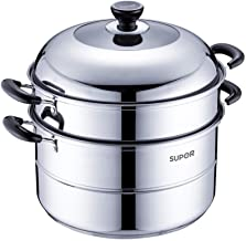 HRXD 304 Stainless Steel, 32cm Diameter Steamer, 2 Layers Thickened Induction Cooker Gas Stove Home Multi-function Steame...