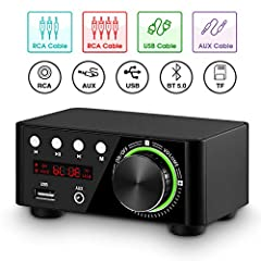 As a digital power amplifier & music player, it supports RCA/AUX/USB/BT 5.0/TF Card inputs, almost compatible with all home audio device such as phone, tablet, computer, TV, set-box, CD player etc. U-disk and TF card support WAV, APE, FLAC lossless f...