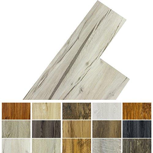 STILISTA Vinyl Laminat Dielen, 15 Dekors wählbar, 5,07m² oder 20m², rutschfest, wasserfest, schwer entflammbar - 20m² Eiche gewaschen