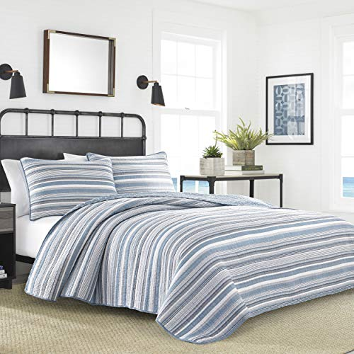Nautica | Jettison Collection | 100% Cotton Light-Weight Reversible Quilt Bedspread Matching Shams, 3-Piece Bedding Set, Pre-Washed For Softness, Full/Queen, Grey