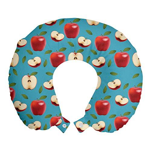 ABAKUHAUS Apfel Reisekissen Nackenstütze, Red Delicious Gesunde Lebensmittel, Schaumstoff Reiseartikel für Flugzeug und Auto, 30x30 cm, Creme Blau Rubin