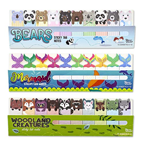 Juvale Sticky Notes Page Markers, Cute Bear, Woodland Animals and Mermaid Designs (2 x .5 in, 60 Pack)