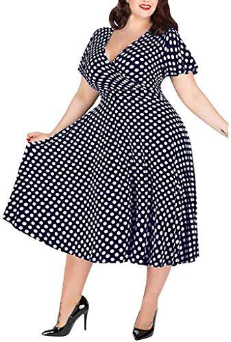 POINWER Damen Lange Kleid Große Größen Sommerkleider Maxikleid Elegant V-Ausschnitt Polka Dot Kurze Strand Freizeitkleider Familie Casual Festlich Party Kleider (Farbe : Marine, Größe : 3XL)