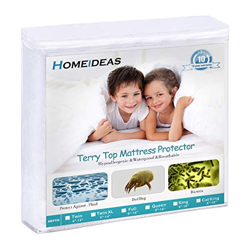 HOMEIDEAS Premium Waterproof Mattress Protector, Comfortable & Quiet, Fitted 14'-18' Deep Pocket, Soft Cotton Terry Surface, Safe Sleep for Adults, Kids, Oeko-TEX, Vinyl Free (Full)
