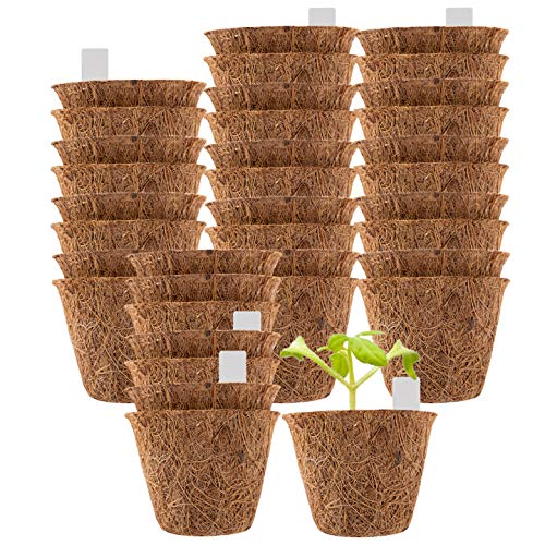 """36 Pack Coco Coir Planter Nursery Pots- 2.5"""" Biodegradable Seedling Germination Peat Pot with Bonus 100 Plant Markers Eco-Friendly Plantable Seedlings Pots for Garden Plants Sprouting Transplanting"""