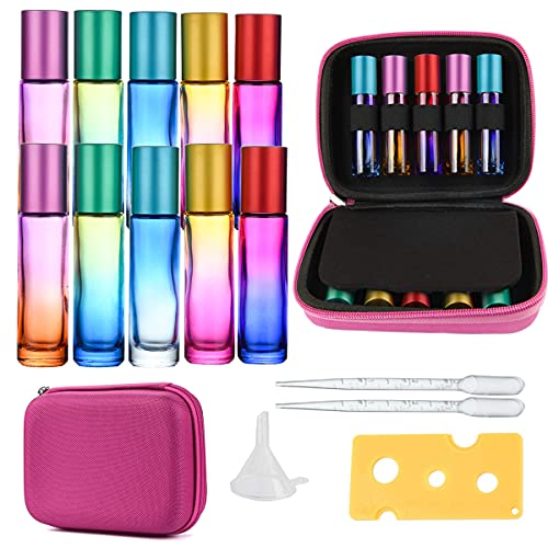 10Pack Botellas Roll On Cristal para Aceites Esenciales 10ml, con Bolsa Roll-on...