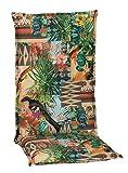 Beo Gartenstuhlauflagen Hochlehner UV-beständig Turin   Made in EU Premium-Qualität   Hochlehner Auflagen waschbar   Atmungsaktive Stuhlauflagen Hochlehner mit Buntem Dschungelmotiv