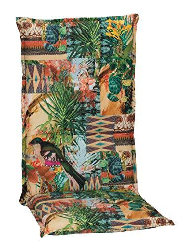 Beo Gartenstuhlauflagen Hochlehner UV-beständig Turin | Made in EU Premium-Qualität | Hochlehner Auflagen waschbar | Atmungsaktive Stuhlauflagen Hochlehner mit Buntem Dschungelmotiv