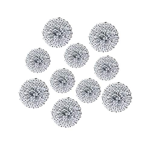10pcs Paper Pom Poms Tissue Paper Flower Art Craft DIY Hanging Flower for Party Wedding Baby Shower Nursey Wall Decoration (8inch+10inch, White with Black Dot)