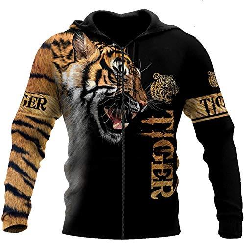 CONPLWS Tiger 3D Printed Hombres Sudadera Unisex Cremallera Pullover Chaqueta Casual