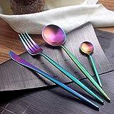 Vajilla de acero negro mate set utensilios para la cena cena postre horquilla cuchara de cocina cuchillo conjunto palillos japoneses juego de vajilla occidental Arco iris