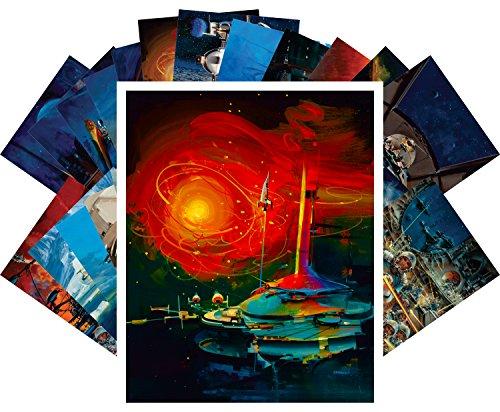 Postcard Set 24pcs Vintage SciFi Space Battles Aliens Comic Art John Conrad Berkey