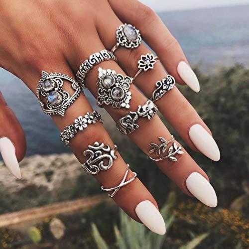 IYOU - Set di anelli in cristallo con pietre preziose, sopra nocca, stile bohémien, stile vintage, con fiore intagliato in argento, per donne e ragazze (11 pezzi)
