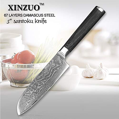 Best Quality Kitchen Knives 5 inch Santoku Knife 67 Layers Chinese Damascus Steel Kitchen Knives Barbecue Knife with Pakka Wood Handle