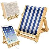 Bookchair Medium Blau-Weiß gestreift - Buchständer - Tablethalter aus Holz: Leseständer für Bücher, E-Reader und Tablets